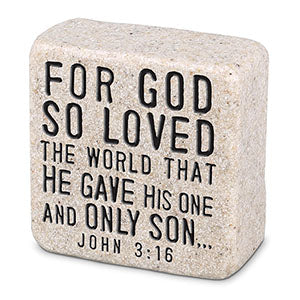 Cast Stone Plaque Scripture Stone - God's Love