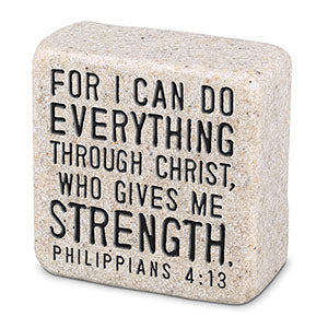 Cast Stone Plaque Scripture Stone - Everything Through Chris