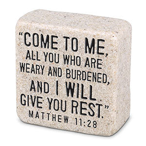 Cast Stone Plaque Scripture Stone - Come To Me