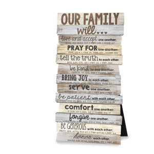 "Our Family Will.. Plaque Wall/Desktop Stacked 5""x10"""