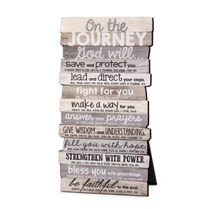 Plaque Wall/Desktop MDF Stacked Wood 'Journey' 5x10