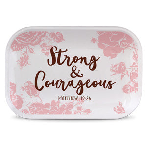 Pretty Prints Catch-all Tray: Strong and Courageous - KI Gifts Christian Supplies