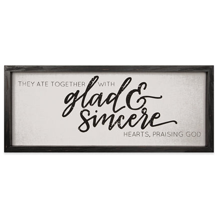 Vintage Linen Sign : Glad & Sincere - KI Gifts Christian Supplies