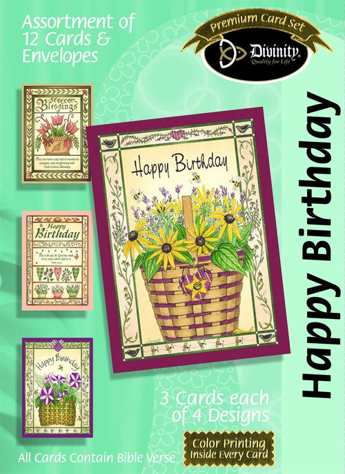 Happy Birthday Boxed Cards: Flower Baskets - KI Gifts Christian Supplies