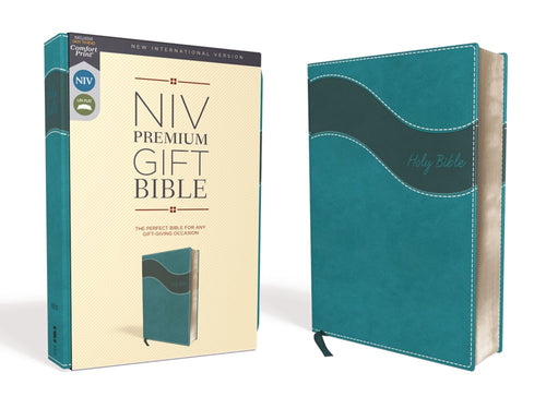 NIV Premium Gift Bible Leathersof Teal Red Letter