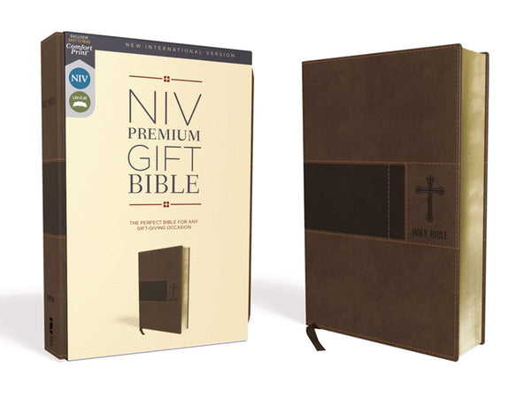 NIV Premium Gift Bible Leathersof Brown Red Letter