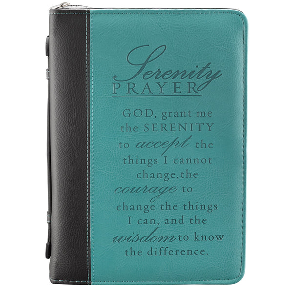 Bible Cover - M Serenity Prayer Black/Aqua Medium