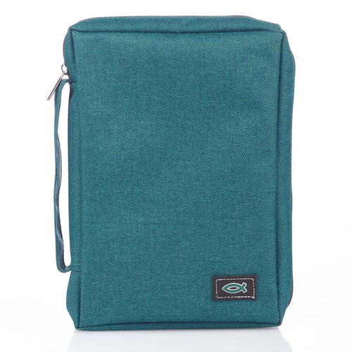 Bible Cover with Fish Badge Teal Poly-Canvas Value