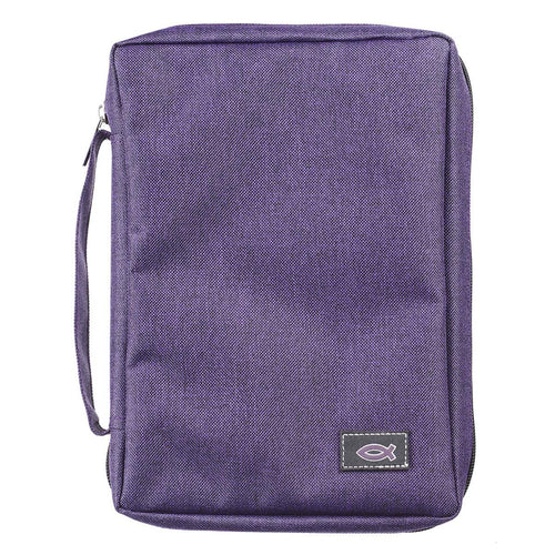 Bible Cover with Fish Badge Purple Poly-Canvas Value