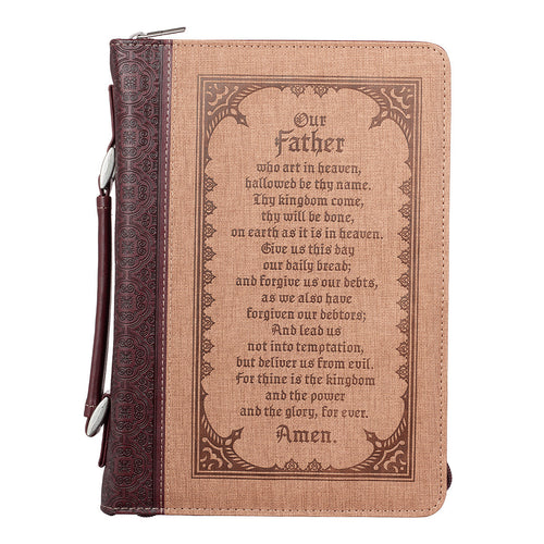 Bible Cover - The Lord's Prayer Brown Two-tone Faux Leather