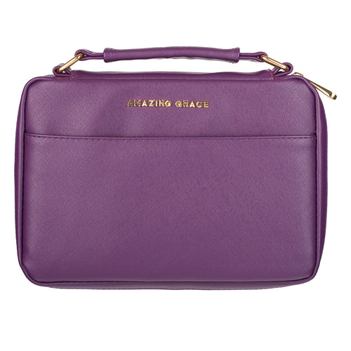 Bible Cover - Amazing Grace Berry Purple Faux Leather Fashion