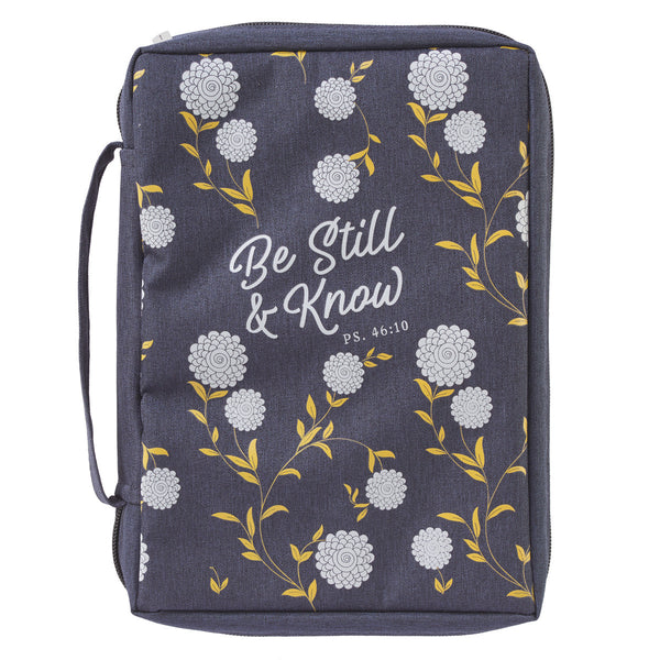 Be Still and Know Navy Poly-canvas Bible Cover - Psalm 46:10