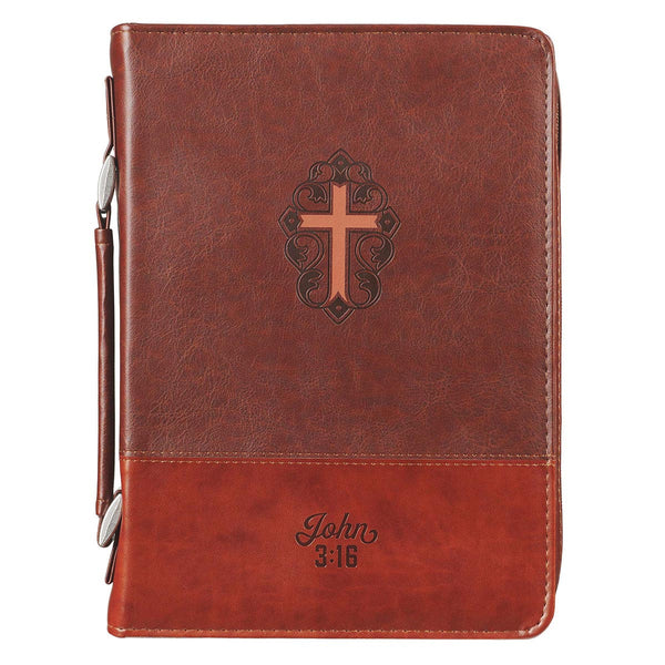 John 3:16 Two-Tone Brown Faux Leather Bible Cover With Cross