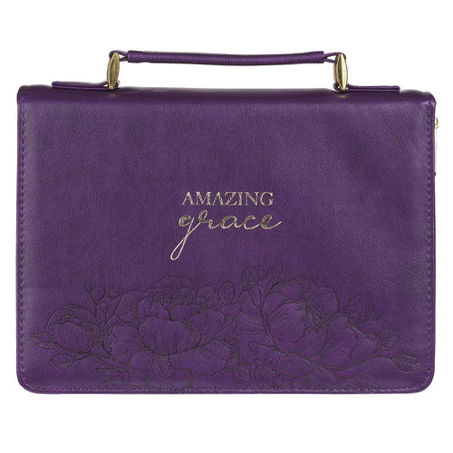 Amazing Grace Purple Faux Leather Fashion Bible Cover