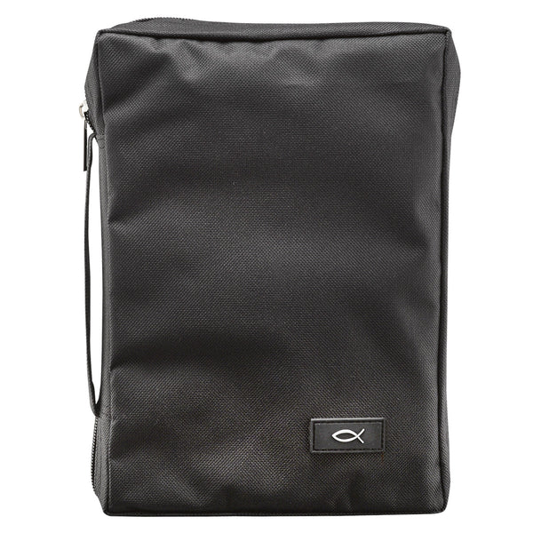 Bible Cover - M Black Super Value Durable Polyester