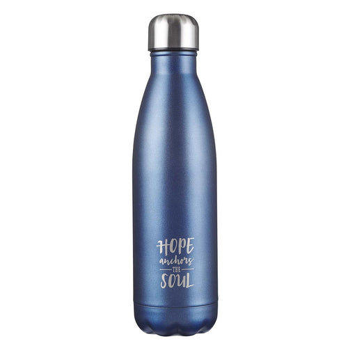 Hope Anchors the Soul Blue Stainless Steel Water Bottle - Hebrews 6:19