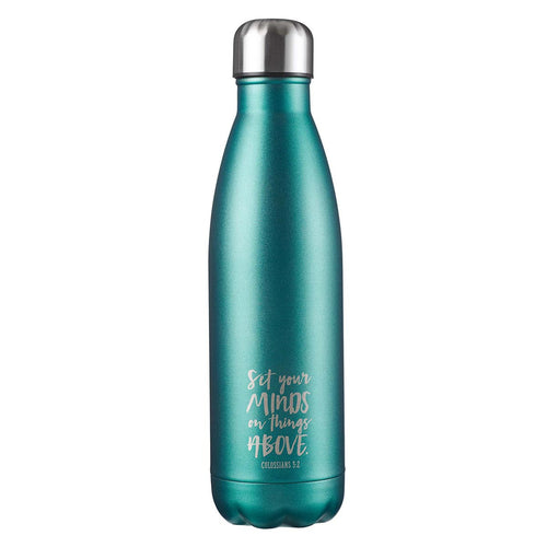 Stainless Steel Water Bottle -Set Your Mind on Things Above Aqua Colossians 3:2