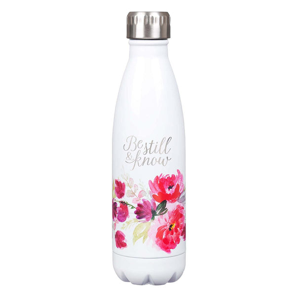 Stainless Steel Water Bottle - Be Still & Know Floral