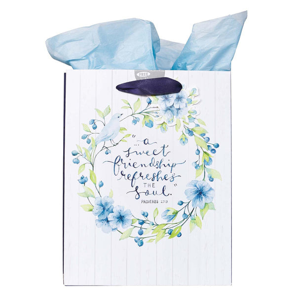 Medium Gift Bag in White and Blue with Tissue Paper - A Sweet friendship Proverbs 27:9
