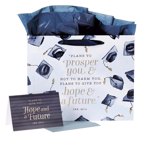 Large Blue Gift Bag Set for Graduates with Card and Envelope - Hope & a Future Jeremiah 29:11