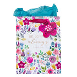 Multicolored Medium Gift Bag with Tissue Paper - Be Joyful Always 1 Thessalonians 5:16
