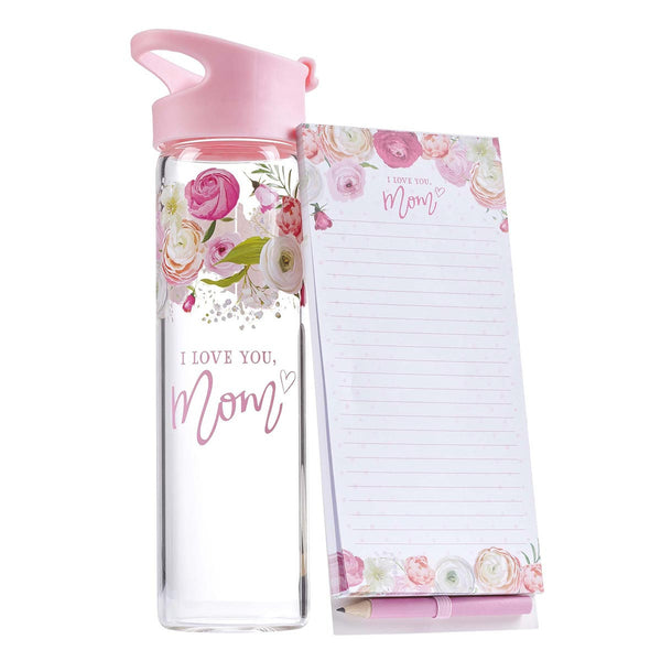 I Love You, Mom Water Bottle and Notepad Gift Set for Women