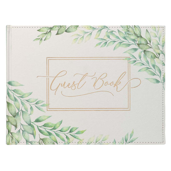 Medium White and Green Faux Leather Guest Book - Green Leaves