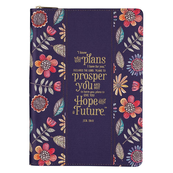 I Know the Plans Purple Faux Leather Classic Journal with Zipped Closure - Jeremiah 29:11