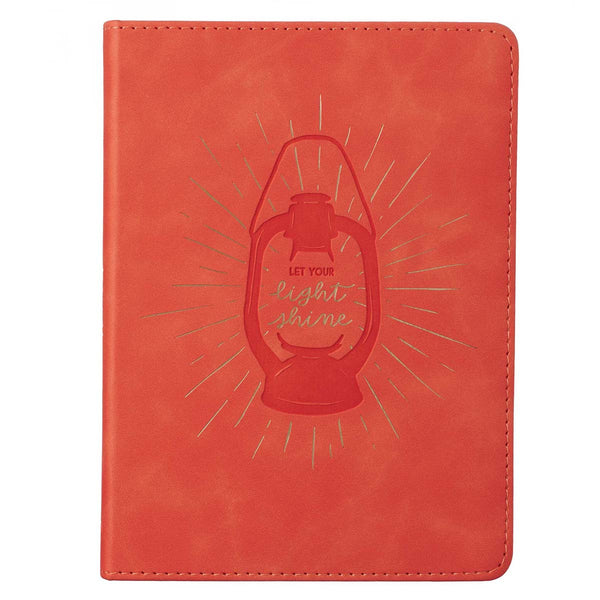 Let Your Light Shine Coral Handy-size Faux Leather Journal