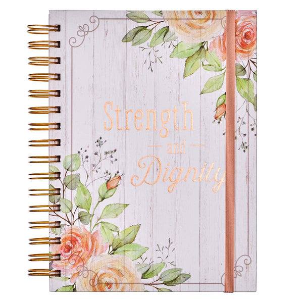 Strength and Dignity Large Wirebound Journal with Elastic Closure - Proverbs 31:25