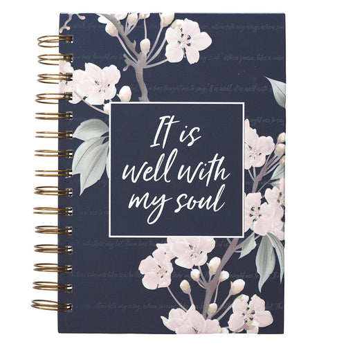 It Is Well Large Wirebound Journal in Navy