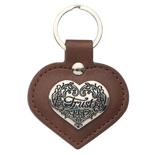 Heart-shaped Faux Leather Keyring - Trust