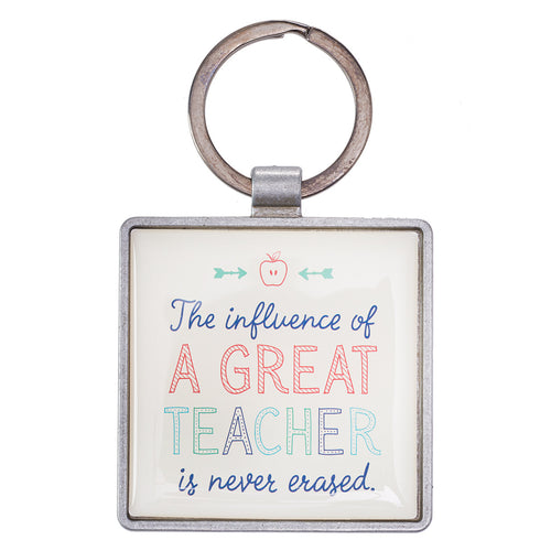 A Great Teacher Keyring in Tin