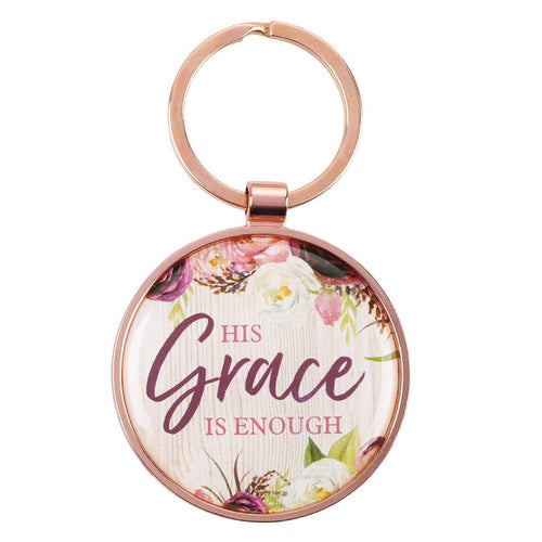 His Grace is Enough Keyring in a Tin in Pink Plum - 2 Corinthians 12:9