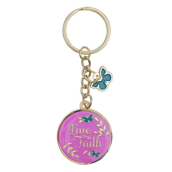 Metal Keyring with Link Chain - Live by Faith