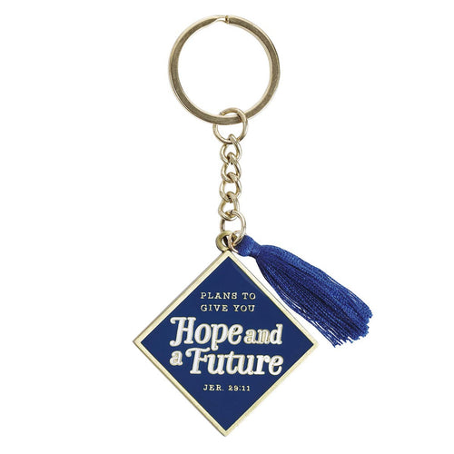 Metal Graduation Keyring with Tassel in Gift Tin - Hope and a Future Navy Jeremiah 29:11