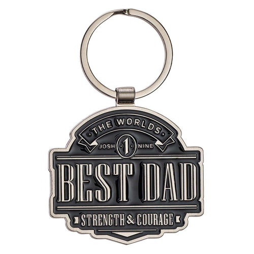 Keyring in Gift Tin - The World's Best Dad Joshua 1:9