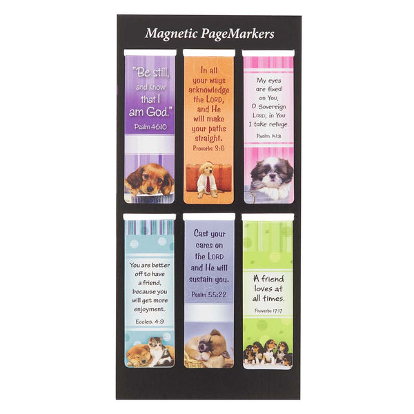 Magnetic Page Markers (Set of 6) Puppies and Dogs