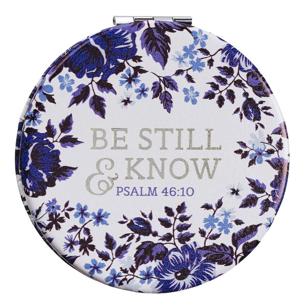 Floral Compact Mirror - Be Still & Know Blue Psalm 46:10