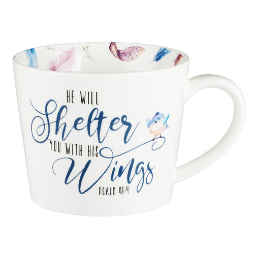 He will Shelter You Coffee Mug - Psalm 91:4