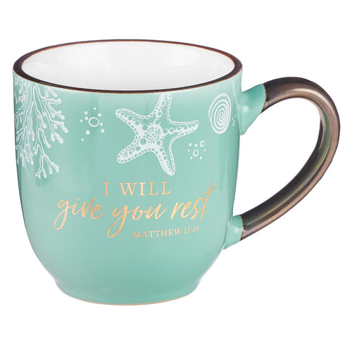 Coffee Mug in Sea Foam Green - Give You Rest Matthew 11:28
