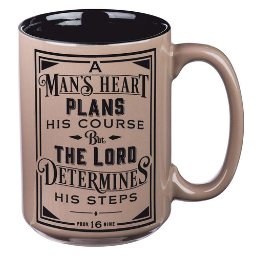 Coffee Mug in Brown - A Man's Heart Proverbs 16:9