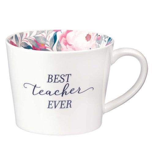 Ceramic Mug in White with Floral Interior - Best Teacher Ever