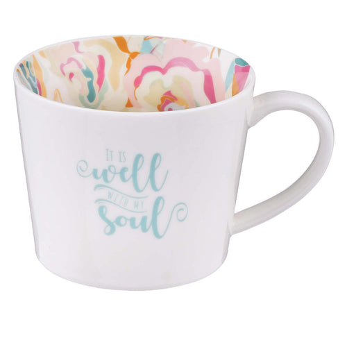 Ceramic Mug in White with Floral Interior - Well With My Soul