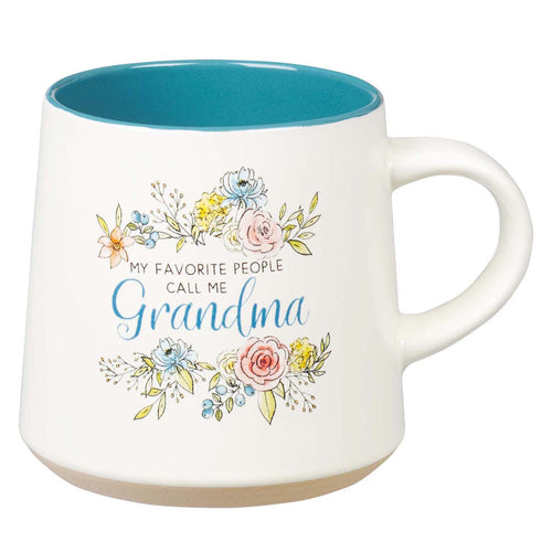Ceramic Coffee Mug with Clay Dipped Base - My Favorite People Call Me Grandma