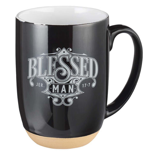 Ceramic Coffee Mug with Dipped Clay Base - Blessed Man Jeremiah 17:7
