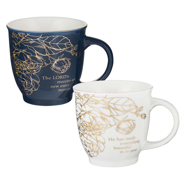 Two Piece Ceramic Mug Set - A Beautiful Morning Lamentations 3:23 & Ecclesiastes 3:1