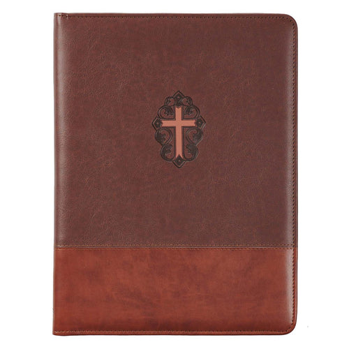 Two-Tone Brown Faux Leather Portfolio Folder With Cross - John 3:16 Collection