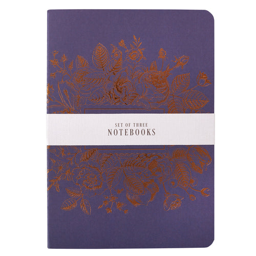 Medium Notebook Set in Blues - Strength and Dignity Proverbs 31:25