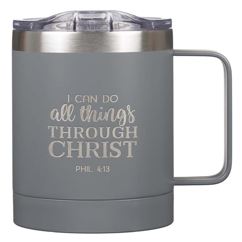 I Can Do All Things Gray Camp Style Stainless Steel Mug - Philippians 3:14